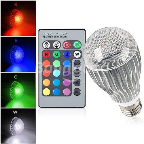 High quality 9W RGB LED Bulb AC85-265V E27 Color Changeable RGB LED Lamp with IR remote control free shipping(China (Mainland))
