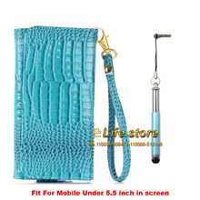Crocodile Leather Case Wallet Mobile Phone Strap Hand Cover +Pen ZTE Nubia Prague S,ZTE Blade V7 Lite,ZTE - Elife Kimi store
