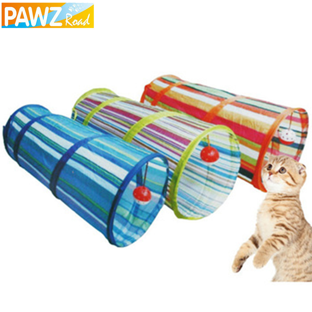Pet Tunnel Cat Play Tunnel Crinkle With Ring Bell Kitten Play Toy Collapsible Colorful Bulk Cat Toys Rabbit Play Tunnel 3 Colors(China (Mainland))