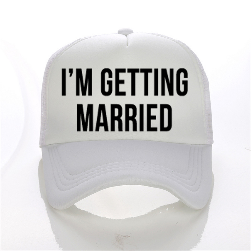 I 'M GETTING MARRED WASTED Print Trucker Caps Women Marry Lady Bachelorette Wedding Flat Bill Hip-Hop Snapback Hat Free Shipping(China (Mainland))