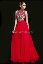 Luxury Beaded 2015 Sexy Red Evening Dresses Abendkleider Long Formal Dresses For Special Occasion Chiffon A Line Robe De Soiree(China (Mainland))