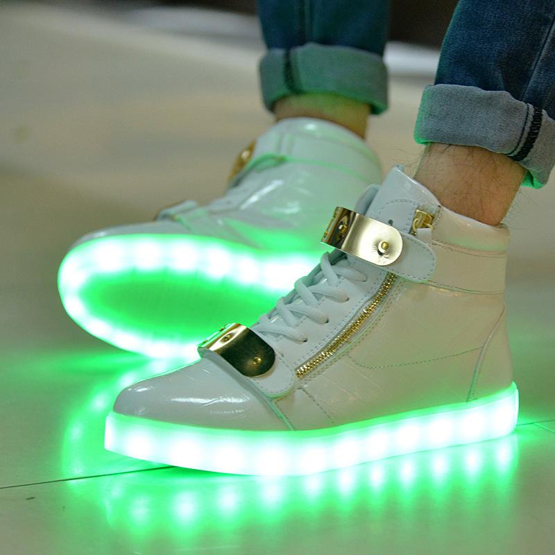 high top canvas shoes woman LED 2016 spring quality female casual shoes USB Light up shoes zapatillas de deporte encabezados<br><br>Aliexpress