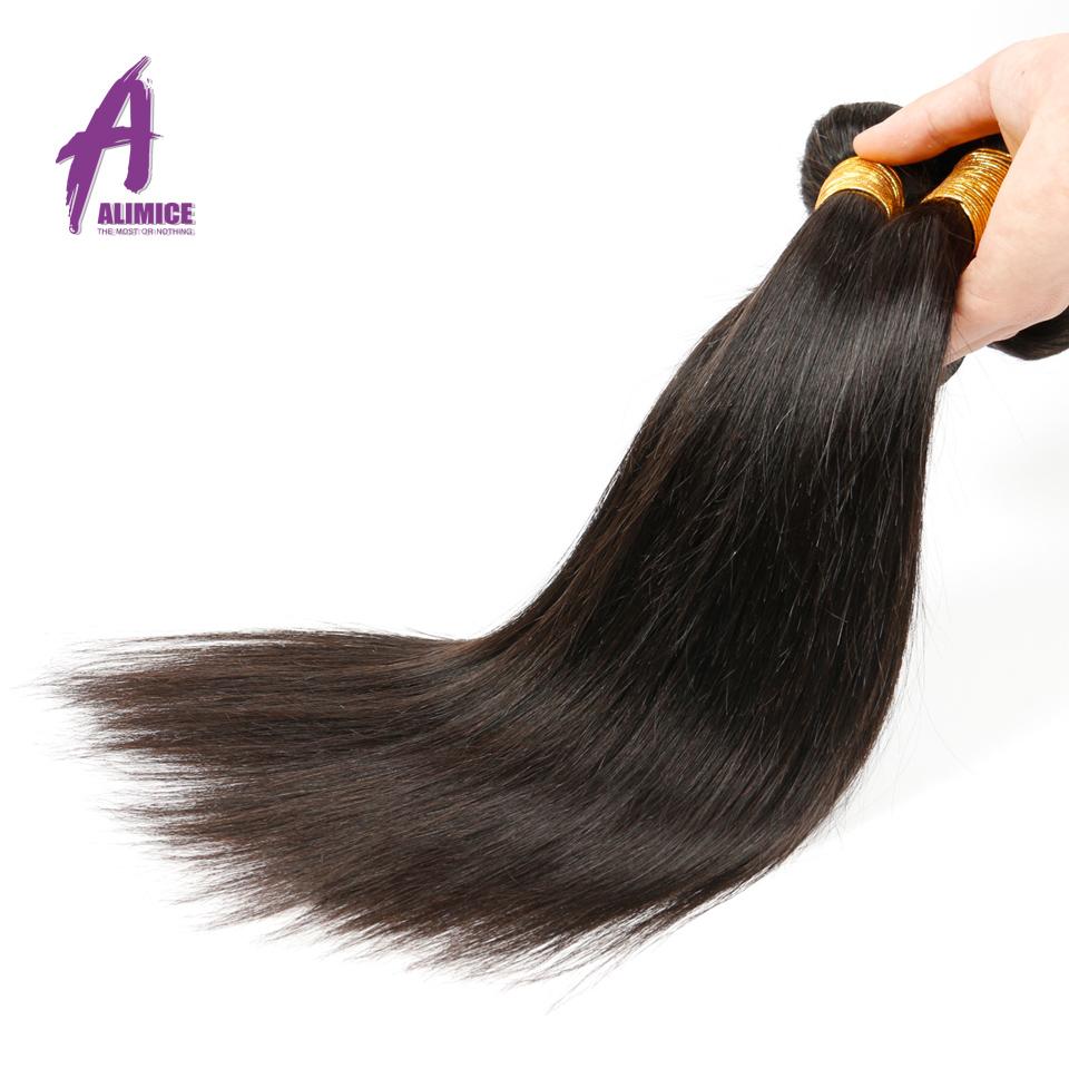 2016 Real Rushed Virgin Hair Alimice Hair Product Brazilian Virgin Straight 4 Pcs Lot Weave Bundles Unprocessed Human Hair(China (Mainland))
