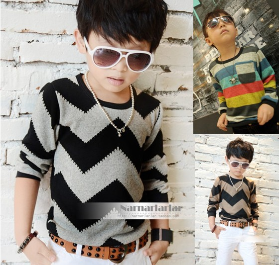 Boys T-shirts baby t shirts children Wavy line colored Stripe t shirt kids T-shirt retail 1pcs Long Sleeve(China (Mainland))