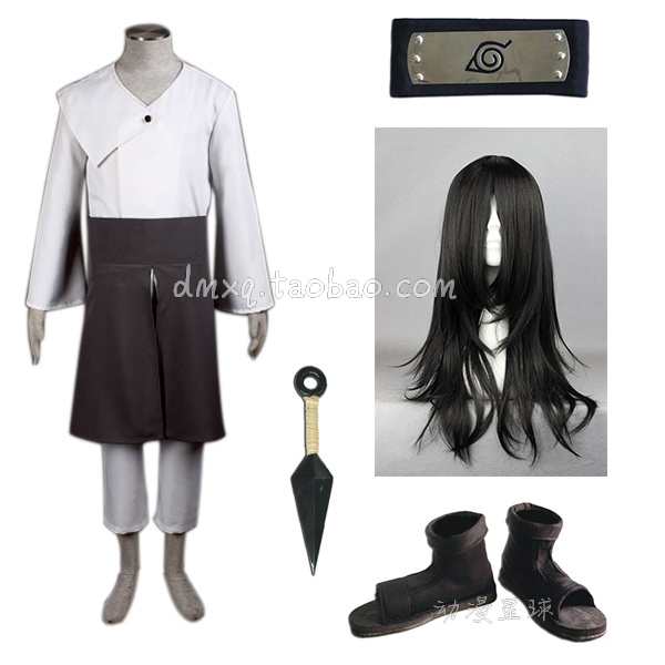 Anime Naruto Hyuuga Neji Cosplay Costume Full Set with Wig(China (Mainland))