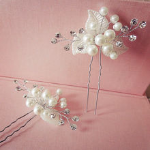 3 PCS bridal hairpins best selling handmade pearl combs flower silk hair jewelry white wedding dress accessories