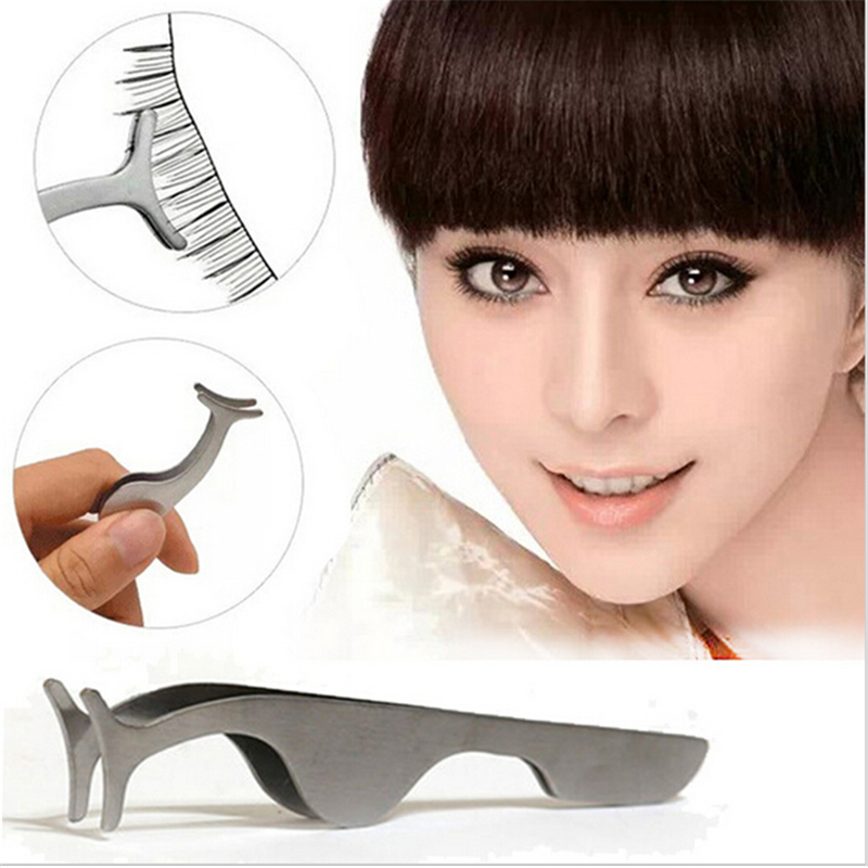 1pcs Beauty Tools Multifunctional False Eyelashes Stainless Auxiliary Eyelash Curler Tweezers Clip(China (Mainland))