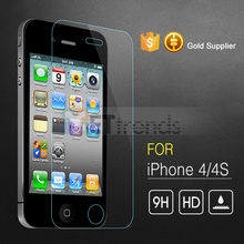For iPhone 4G 4S Tempered Glass Screen Protector Film Explosion-Proof 0.26mm Ultra Thin 9H Hardness with Retail Package