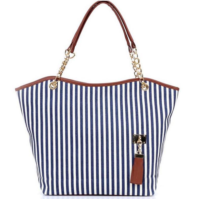 2015 Navy Stripes Handbag Clutch Tassel Beach Bag Stripe Street Snap Candid Canvas Shoulder Bag drop shipping FB012#S1(China (Mainland))