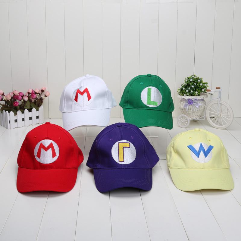 5 colors Super Mario baseball Hat Cap Adjustable Mario Luigi Wario Waluigi Baseball Hat Kid'd Caps(China (Mainland))