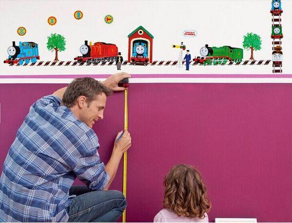 حار بيع ورقة 3d توماس القطار شارات الجدار ملصق الكرتون ديكور المنزل المعيشة ديكور لغرف الاطفال(China (Mainland))