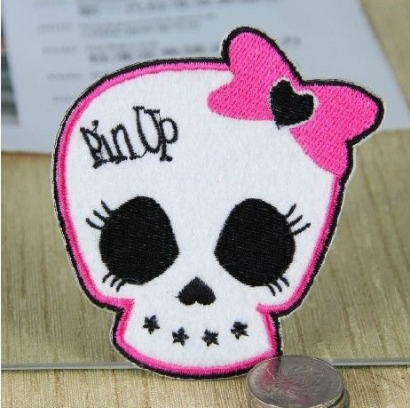 ~1 Embroidered Pin pink Bow Skull Bone Iron Sew Patch Applique Badge - Mackie Wong's store