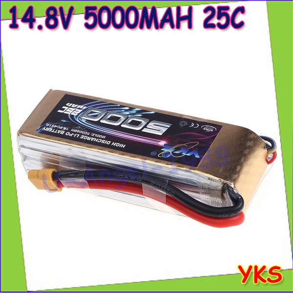 1pcs Original YKS Lipo Battery 14.8V 5000mah 25C MAX 40C XT60 Plug for RC Car Boat Airplane DJI F550 S800 FPV Multirotor