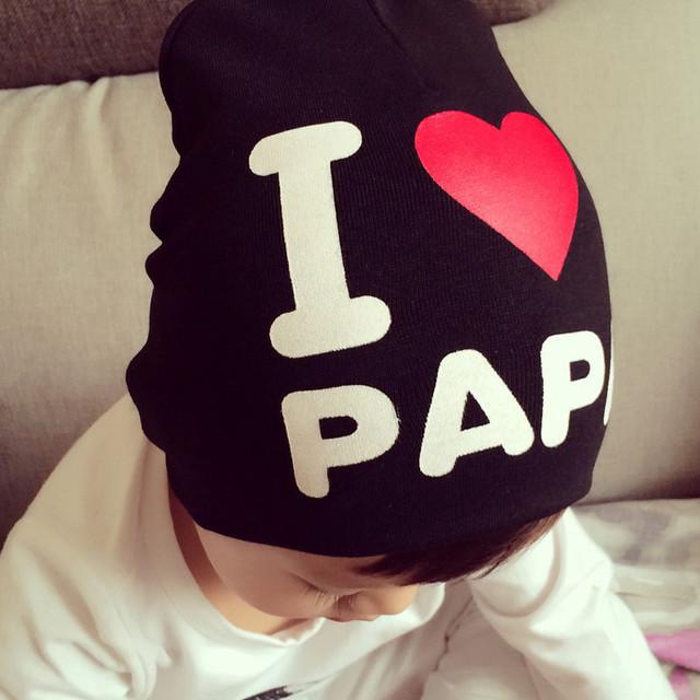 Весна осень зима шапочка новых родился детские фотографии реквизит мальчики девочки вязаные я люблю папа мама шапочки H774
