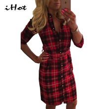 Shirt Dress Womens Tartan patchwork 3/4sleeve button Work Wear Casual Vestido cotton red long plaid Robe autumn 2016 new fashion