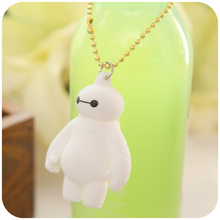 2015 hot sale big hero 6 baymax keychain Environmentally Vinyl Pendant Keychains for bag/car/phone charm gift(China (Mainland))