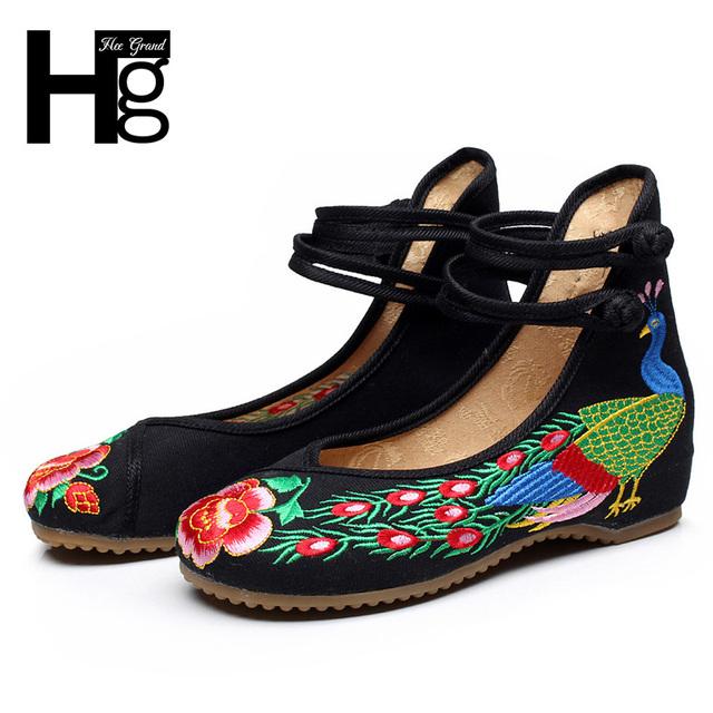 Культурных Женщин Плоские Туфли Уникальный Китайский Традиционный Стиль Цветочные ...