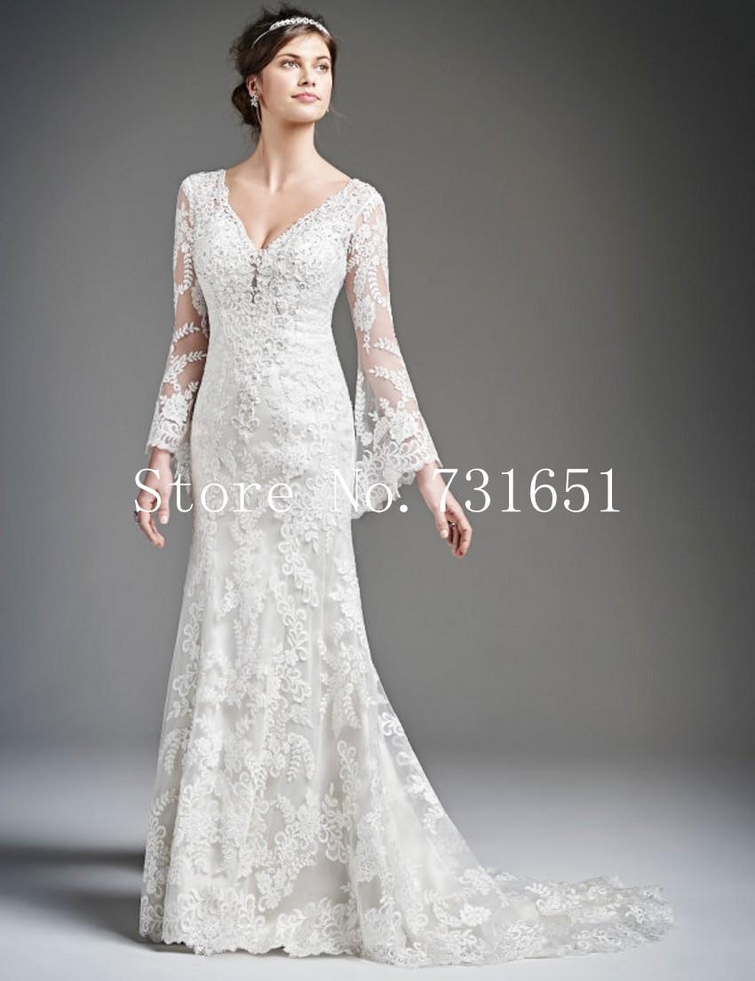 2015 fall hot sale vintage lace long sleeves wedding for Mermaid wedding dresses on sale