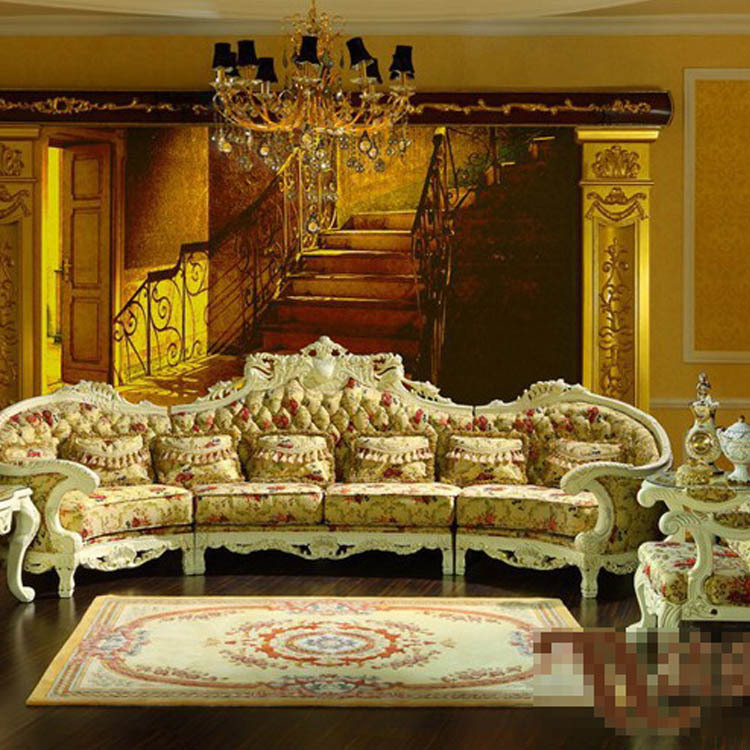 Palace Luxury Furniture European Classical Solid Wood Sofa Cloth Art Sofa Com