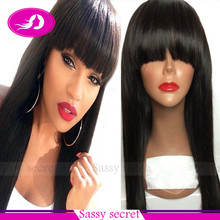 2015 Silky Straight Heat Resistant Synthetic Hair Synthetic Lace Front Wig With Full bangs Baby Hair For Black Women