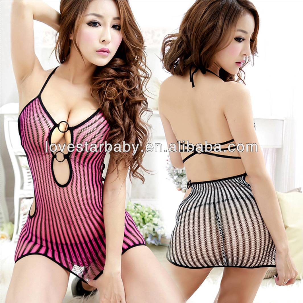wholesale 100pc hot sexy lingerie women underwear fishnet side O-ring buckle deep-v tights mini dress with match g-string LY359(China (Mainland))
