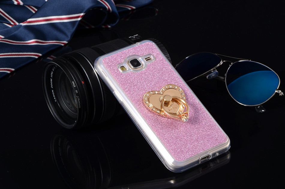 Luxury Glitter Cases For Samsung Galaxy J1 2016 Express 3 J120A J120F 4.5″ Silicon Diamond Ring Covers Holder Stand Phone Bags