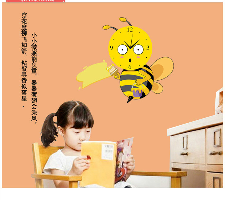for Wall Paper Small Large Adesivos Wall Europe free Shipping New Arrival Stickers Clock Bees Decoration Gift Christmas 33(China (Mainland))