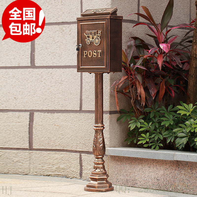 upright Cast Iron Mailbox Postbox Mail Box Wall Mount Metal Post Letters Box Rustic Country Cast Iron Mail Box Garden decor(China (Mainland))