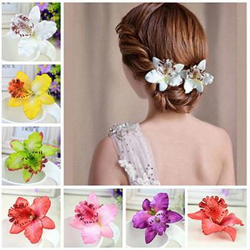 Нежный орхидея пион цветы заколки женщины девушки пляж аксессуары для волос пластик ...