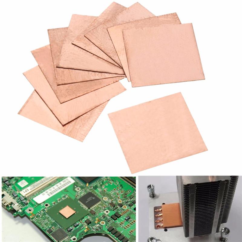 10PCS 0.1mm/0.3mm/0.5mm/0.8mm/ Laptop Copper Sheet Plate Strip Shim Thermal Pad Heatsink Sheet For GPU CPU VGA Chip RAM Cooling(China (Mainland))