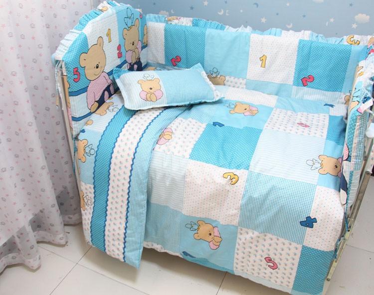 Фотография Promotion! 7pcs bedding set 100% cotton quilt jogo de cama bebe baby crib bedding set (bumper+duvet+matress+pillow)