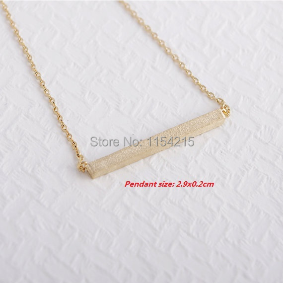 Free Shipping 10pcs-High Quality Copper Strip Necklace 18K Gold Silver Square Bar Necklace EY-N010(China (Mainland))