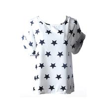 2016 Nuevos modelos de explosión Caliente de La Gasa Camisetas Tops de Las Señoras Flojas Camisetas de Rayas