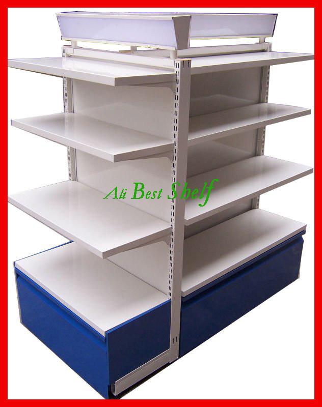 2014 new fashion design supermarket shelves with light box nice steel display rack stand(China (Mainland))