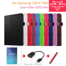 For samsung Litchi skin Leather stand case cover capa para for Samsung Galaxy Tab E 9.6 T560 T561 Tablet cover case+pen+Film+OTG