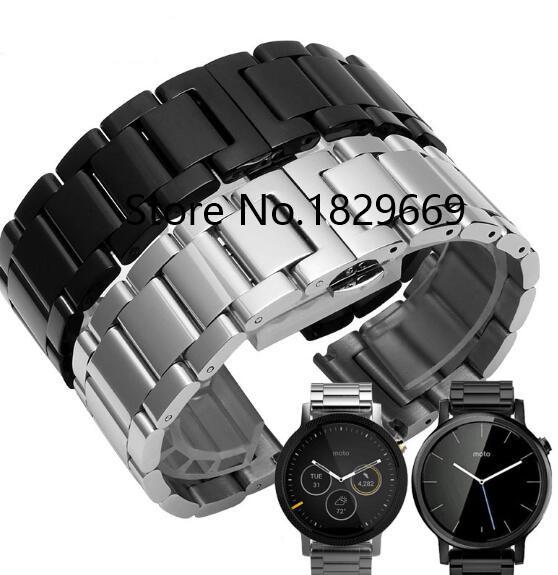 Men and women Black 18mm 20mm 22mm 24mm Stainless Steel Metal Watch Band WatchBandS Strap Bracelet For Motorola smart watchTools<br><br>Aliexpress