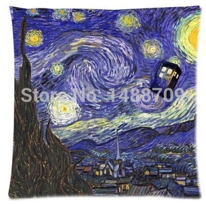 Abstract Tardis Doctor Who Starry Night Zippered Soft Square Pillowcase Standard Size 18x18 Inch Free Shipping(China (Mainland))