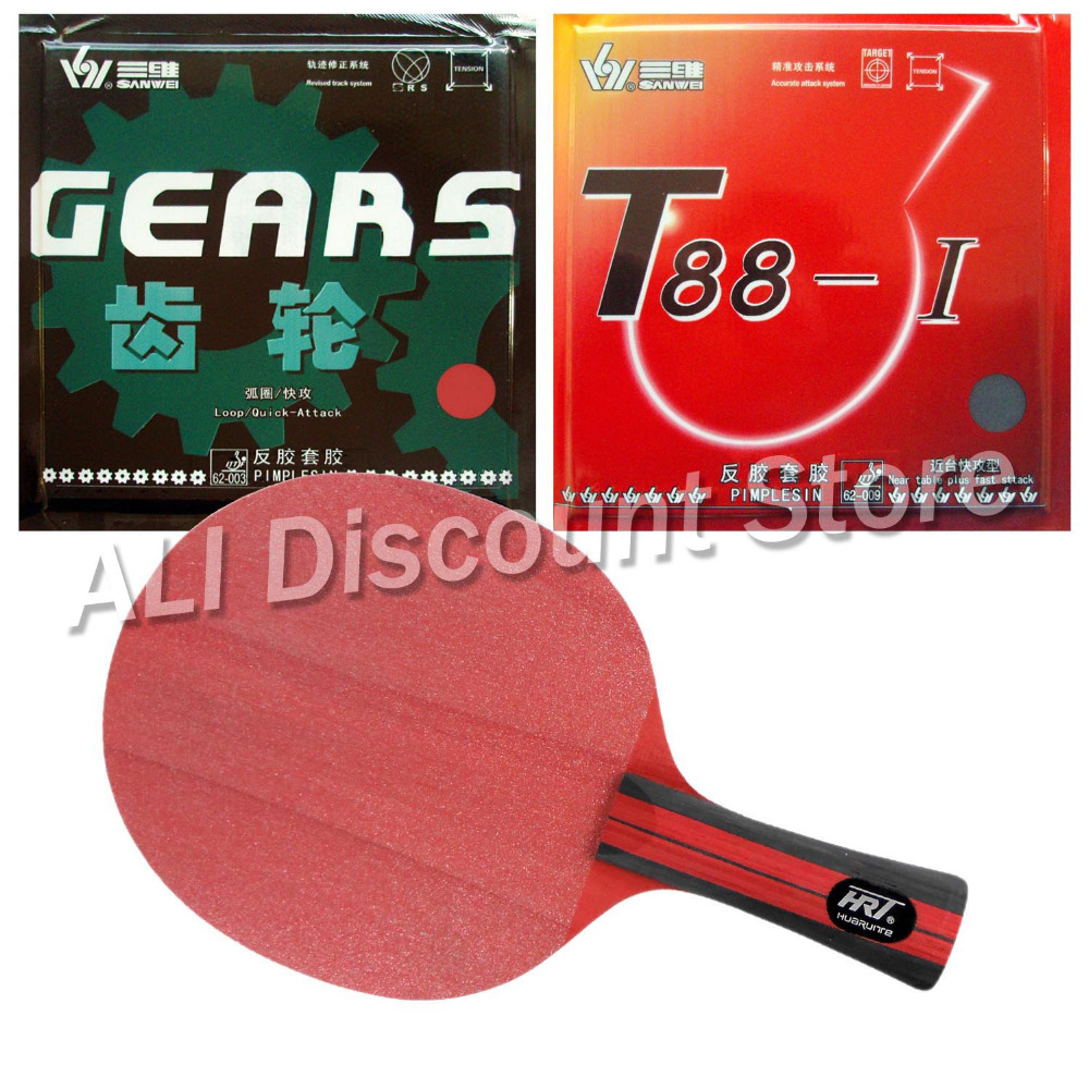 HRT Red Crystal Blade with Sanwei T88-I and GEARS Rubbers for a Table Tennis Combo Racket(China (Mainland))