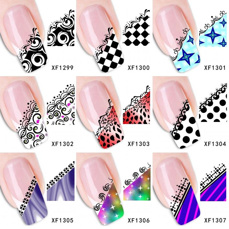 24 kinds 3D Grid Nail Art Tips Stickers False Nail Design Manicure