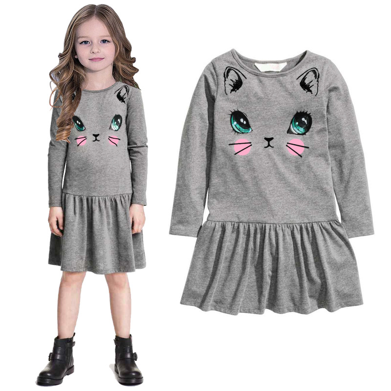 Baby girl clothes spring autumn casual big cat cartoon pattern kids dresses dress children