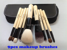 Wholesale New arrival HOT  SELL cosmetic Makeup Brushes 9 Pieces+with leather Pouch Free shipping