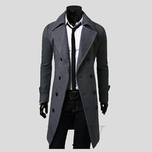 2015 Men's Stylish Trench XXXL Coat Winter Long Double Breasted Turn-down Collar Overcoat Outerwear winter coat J-76(China (Mainland))