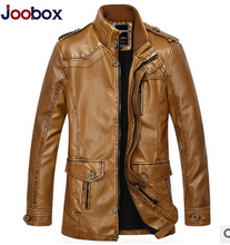 014 New Winter Men'S Leather Coat Man Long Paragraph Slim Fit Wear White Washed Leather Jacket Men Leather Clothing