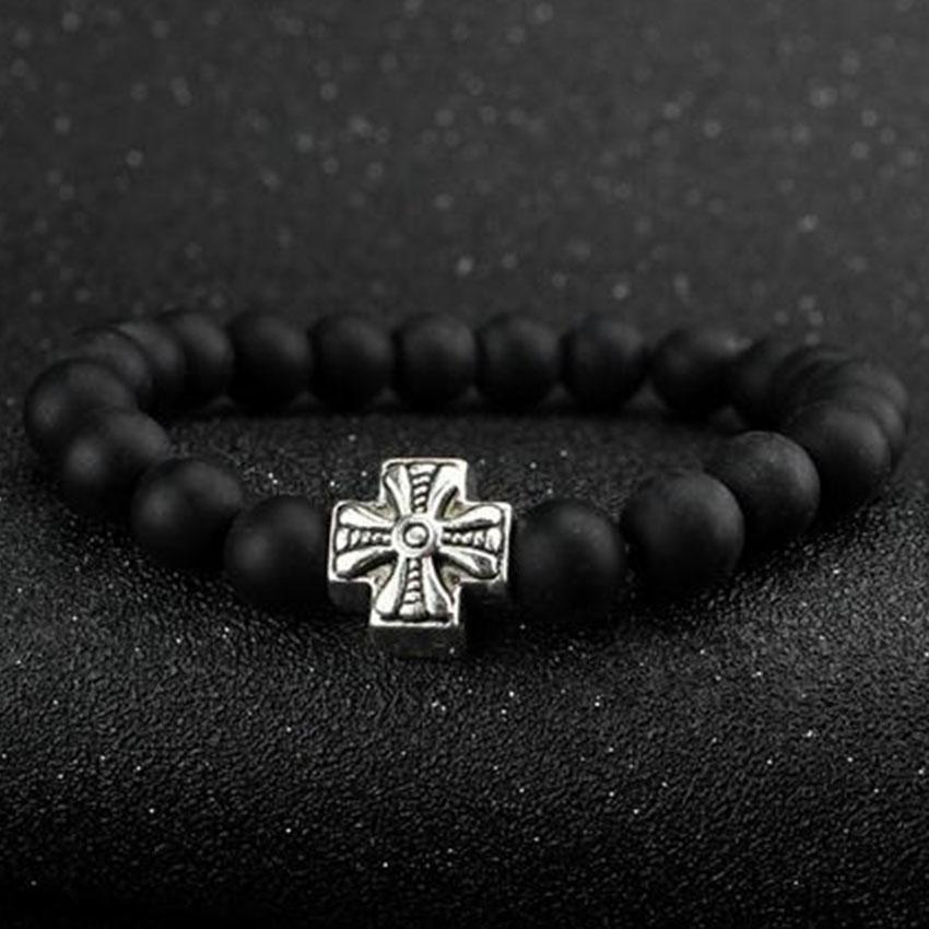 2016 Natural Stone Buddha Bracelet Men Lava Stone Bead Jesus Cruz bracelet femme homme pulseras hombre Men Jewelry(China (Mainland))