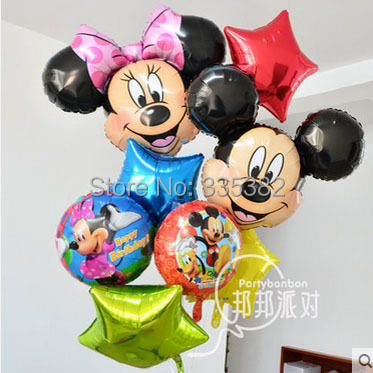 The new aluminum helium balloons birthday party baby Hundred Days Mickey Minnie Mickey Mouse head foil balloons wholesale(China (Mainland))