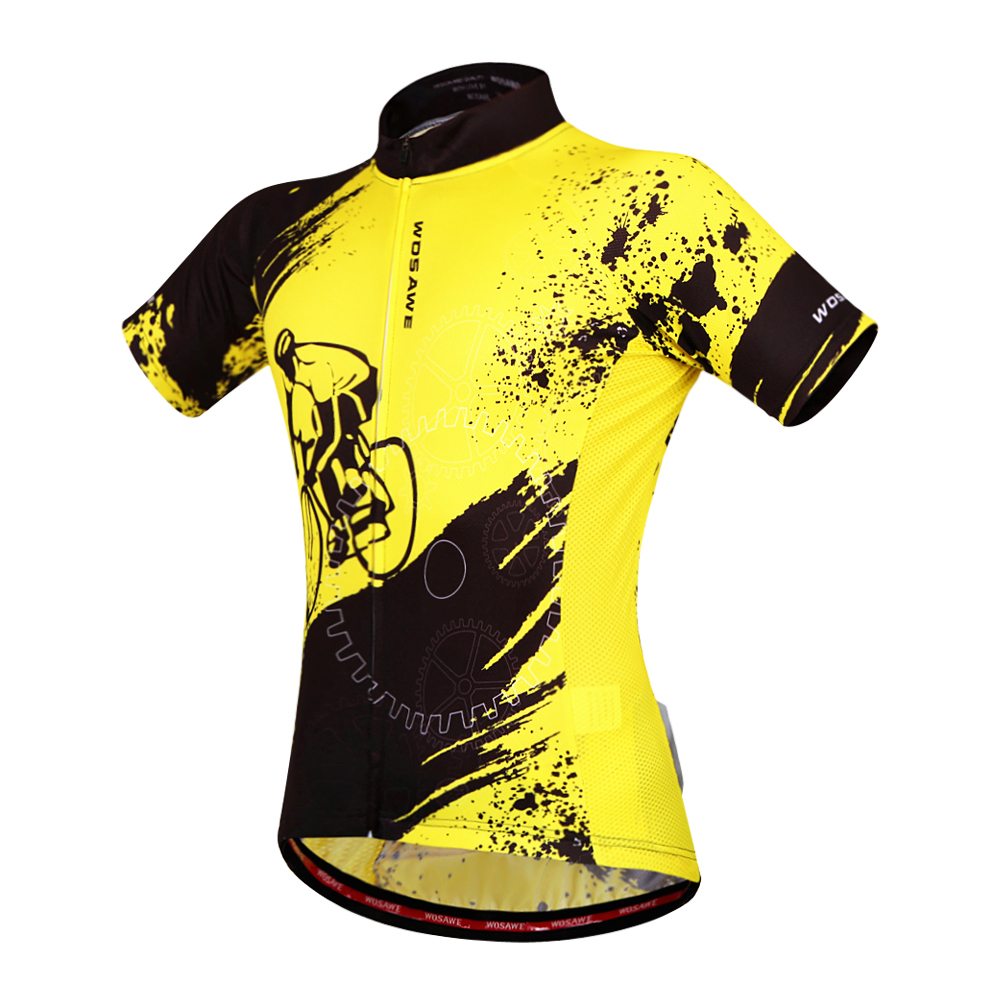 WOSAWE Bike team 2016 women men yellow Polyester Cycling jersey tops short sleeve bike clothing summer style<br><br>Aliexpress