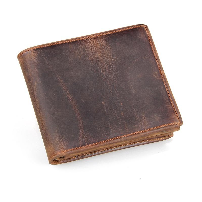 Crazy horse leather men wallets vintage men short fold wallets card holder purse 2015 new arrival brand design wallet(China (Mainland))