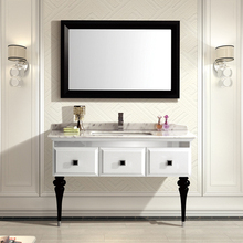 snow mountain white and black oak cabinet and mirror, Volakas white marble, single hole and single basin bathroom vanities(China (Mainland))