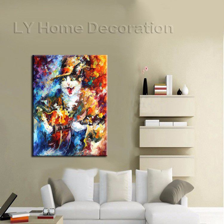 Handpainted High Quality Funny Design Animal Oil Painting Cat Pictures On Canvas For Artwork Home Decor Best Gift Wall Art(China (Mainland))