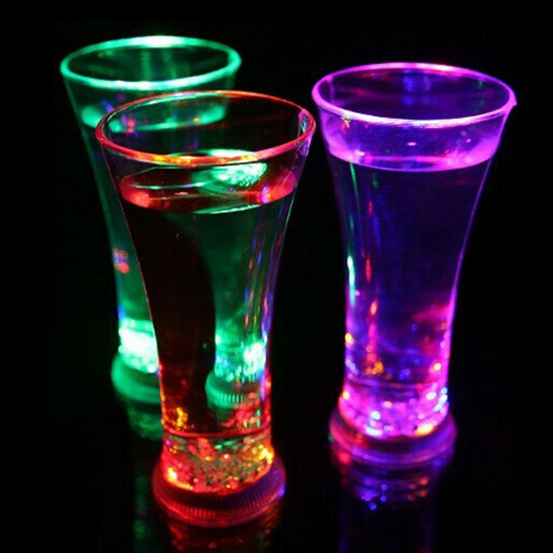 Flashing LED Light Up Cup Glass Juice Liquid induction Drink Mug Barware Party Wedding Clubs Christmas Navidad Halloween Holiday(China (Mainland))